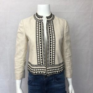 Ann Taylor Cropped Linen Embroidered Jacket 0
